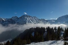 Cold winter landscape in the Austrian alps Royalty Free Stock Photos