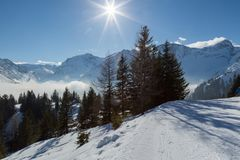 Cold winter landscape in the Austrian alps Royalty Free Stock Image