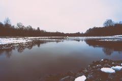 Cold winter landscape with frozen river. retro vintage polaroid Stock Images