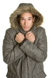 Cold Winter Man. Cold african american winter man Stock Images