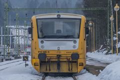 Cold winter morning in Lipno nad Vltavou station stock photo