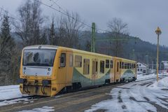 Cold winter morning in Lipno nad Vltavou station royalty free stock images