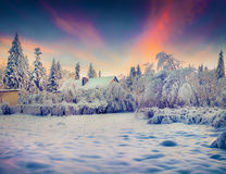 Cold winter morning in the mountain village after heavy snowstor Stock Photo