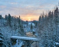Cold winter morning at river stock photography