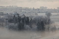 Free Cold Winter Morning With Fog In Sursee In Central Switzerland Stock Photos - 110907783