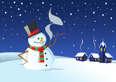 Cold winter night. Traditional snowman with coal eyes and mouth, carrot nose, pipe, hat and scarf in a winter night Royalty Free Stock Images