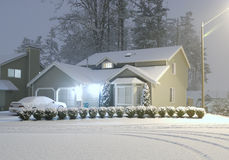 Cold Winter Night. House in the night with snow Stock Photo