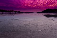 Sunset Over Frozen Ohio River stock images