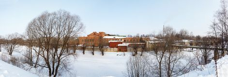 Cold winter in Pereslavl' Zaleski frozen river Stock Photography