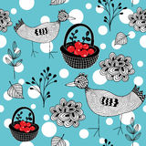 Cold winter seamless pattern with white snowballs and doodle birds. Stock Image