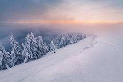 morning snowy mountains royalty free stock image