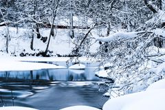 Cold Winter Stream in Snowy Surroundings royalty free stock photography