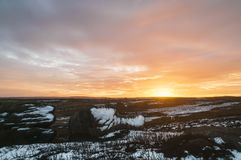 High Crag Rocks. Cold winter Sunset over High Crag rocks in Nidderdale, North Yorkshire, England. December 2017 Stock Images