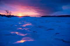 Cold winter sunset Royalty Free Stock Image