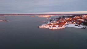 Cold winter in Sweden. Drone footage stock footage