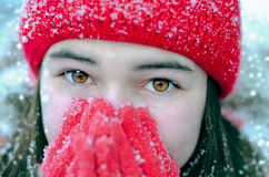 Cold winter. Teenage Girl Wearing Warm Winter Clothes Stock Photos