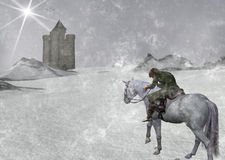 Cold Winter Traveller On Horseback Illustration  Stock Image