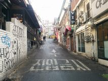 Korean street in Itaewon neighborhood stock images