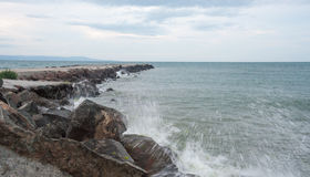 Cold winter waves of the Black Sea in Bulgaria Royalty Free Stock Image