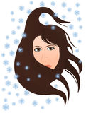 Cold winter wind blows in the woman's face. Hair be dishevelled, snowing Royalty Free Stock Photography