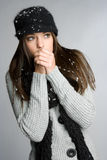 Cold Winter Woman. Beautiful young cold winter woman royalty free stock images