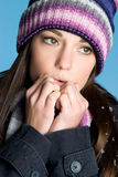 Cold Winter Woman. Cold winter beanie woman closeup royalty free stock photos