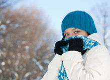 Cold winter woman. Covering her face in winter forest royalty free stock photography