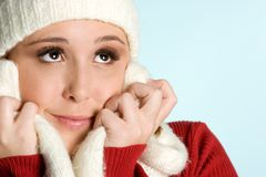 Cold Winter Woman. Beautiful smiling cold winter woman royalty free stock image