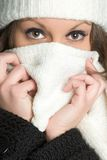 Cold Winter Woman. Beautiful cold winter scarf woman royalty free stock image