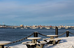 Cold wintry day on the harbor Royalty Free Stock Photo