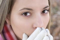 Cold Woman. Closeup stock images