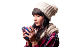 A cold woman. Drinking a hot drink royalty free stock photos