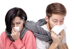 Cold woman and man stock images