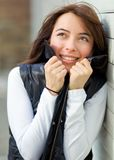 Cold woman outdoors Royalty Free Stock Image