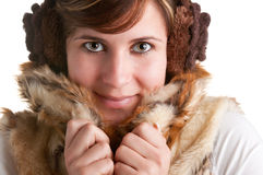 Cold Woman Snuggling in Warm Coat Royalty Free Stock Photo