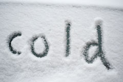 cold, written in the snow Stock Image