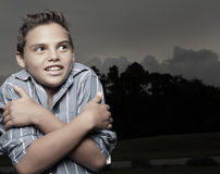 Cold young boy Stock Photo