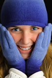 Cold young lady. Royalty Free Stock Photo