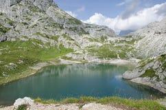 Coldai sjö, Dolomites, Italien royaltyfria foton