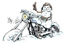 ColdBiker. Snowman biker and motorcycle in snow Royalty Free Stock Photo