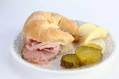 Coldcuts on Croissant Royalty Free Stock Photo