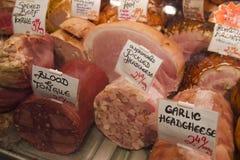 Coldcuts delicioso en mercado de la isla de Vancouvers Grandville Imagen de archivo libre de regalías