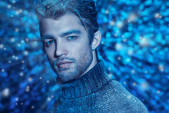Coldness. Portrait of a handsome man dressed in winter clothes, covered with frost stock images