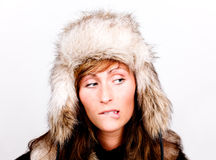Coldness weather. Coat hat wearing stylish fashion coldness woman royalty free stock photos