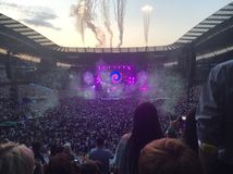 Coldplay in etihadstadion stock foto