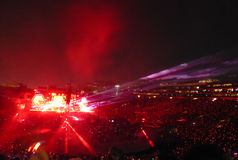 Coldplay som ett huvud av drömmar turnerar mycket i konsert i Los Angeles royaltyfria bilder