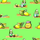 Colds disease pattern. Illustration of herbal tea, lemon, thermometer, honey, medicine, cough syrup and ointment in a tube . for colds. Seamless pattern Royalty Free Stock Photos