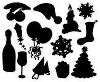 Coleção 03 da silhueta do Natal Foto de Stock