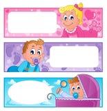 Coleção 1 das bandeiras do tema do bebê Imagens de Stock