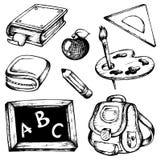 Coleção 1 dos desenhos da escola Imagens de Stock